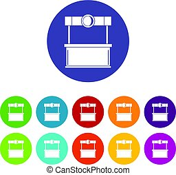Street kiosk icons set flat vector