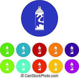 Colored spray icons set flat vector - Colored spray icons...