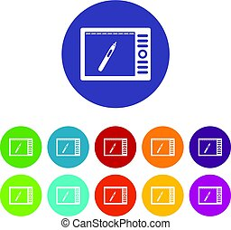 Graphics tablet icons set flat vector - Graphics tablet...