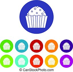 Cup cake icons set flat vector - Cup cake icons set in...