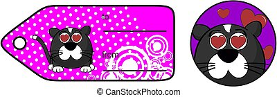 inlove little cat ball cartoon expression giftcard - funny...