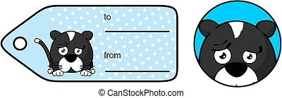 sad little cat ball cartoon expression giftcard - funny...