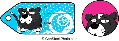 flirty little cat ball cartoon expression giftcard - funny...