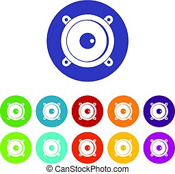 Audio speaker icons set flat vector - Audio speaker icons...