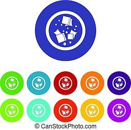 Meat shashlik icons set flat vector - Meat shashlik icons...