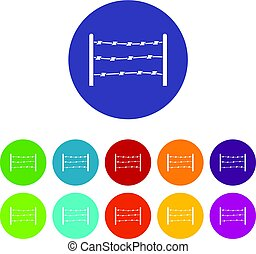 Barrier icons set flat vector - Barrier icons set in circle...