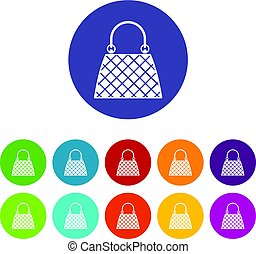 Backpack icons set flat vector - Backpack icons set in...