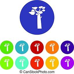 Baobab icons set flat vector - Baobab icons set in circle...