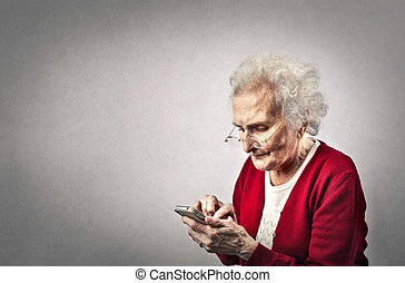 Old lady with phone
