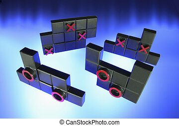 Tic TacToe Puzzle on Blue Background
