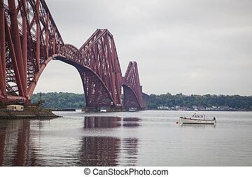 Forth Rail Bridge and Firth of Forth near Edinburgh,...