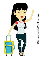 Young woman hitchhiking vector illustration. - Asian woman...