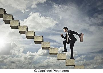 homme affaires, escalier