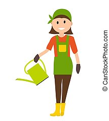 Farmer Gardener Woman with With Watering Can in Modern Flat Style