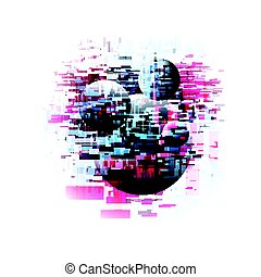 Vector illustration of abstract glitch universe with planets...