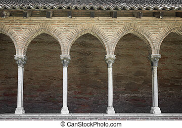 Cloister in Couvent des Jacobins - Columns and arches of...