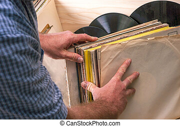 Vinyl record. Copy space for text.