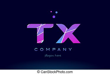 tx t x colored blue pink purple alphabet letter logo icon...