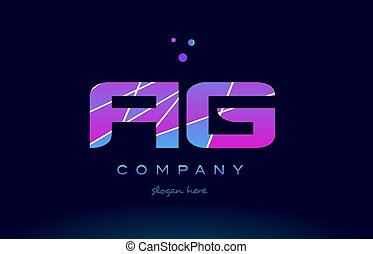 ag a g colored blue pink purple alphabet letter logo icon...