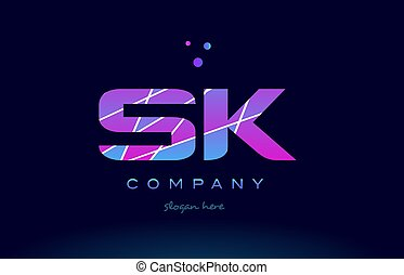sk s k colored blue pink purple alphabet letter logo icon...
