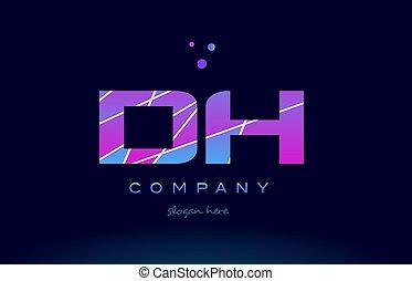 dh d h colored blue pink purple alphabet letter logo icon...