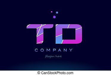 td t d colored blue pink purple alphabet letter logo icon...