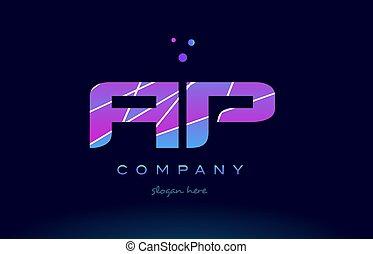 ap a p colored blue pink purple alphabet letter logo icon...