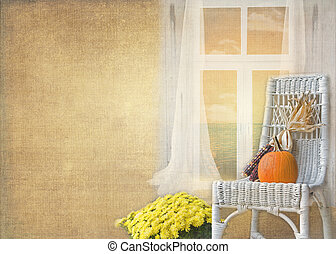 Home Sweet Home - Pumpkin and Indian corn on wicker chair
