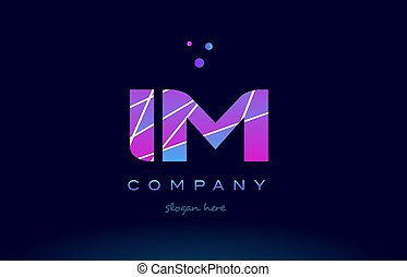 im i m colored blue pink purple alphabet letter logo icon...