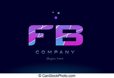 fb f b colored blue pink purple alphabet letter logo icon...