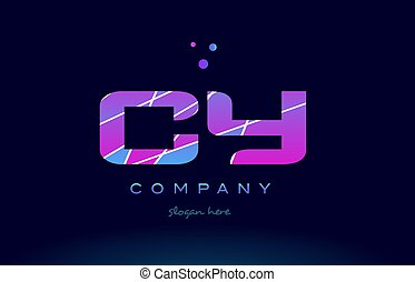 cy c y colored blue pink purple alphabet letter logo icon...