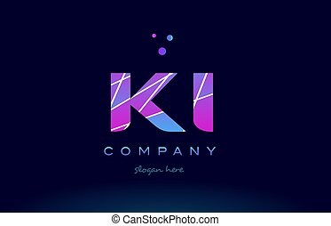 ki k i colored blue pink purple alphabet letter logo icon...
