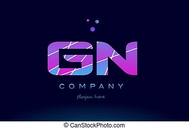 gn g n colored blue pink purple alphabet letter logo icon...