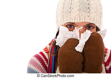 woman with flu symptoms - woman with flu symptom isolated on...