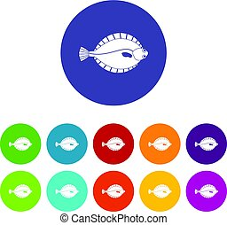 Flounder icons set flat vector - Flounder icons set in...