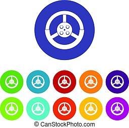Steering wheel icons set flat vector - Steering wheel icons...