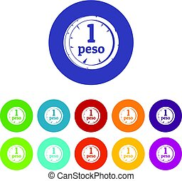 Peso icons set flat vector - Peso icons set in circle...