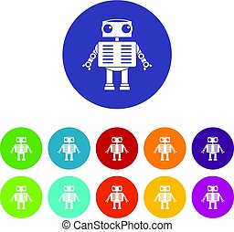 Robot with big eyes icons set flat vector - Robot with big...