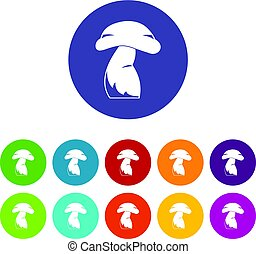 Good mushroom icons set flat vector - Good mushroom icons...