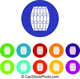 Four bottles of wine in a wooden box icons set in circle...