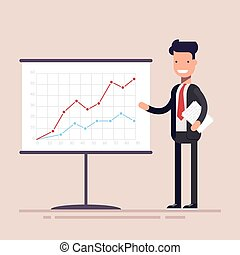Businessman or manager with documents in his hands demonstrates the income schedule. Presentation of revenue growth for investors.