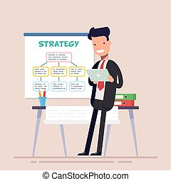 Businessman or manager uses a tablet standing near the workplace. Poster business strategy. Folders with documents on the table. Flat character. Vector illustration.