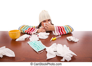 woman with flu symptoms - sad woman with flu symptom...