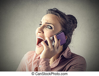 Mad woman on phone