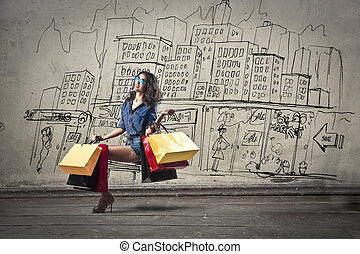 Woman after shopping - Woman holding shopping bags