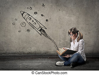 Girl with spaceship - Girl with illustrated spaceship