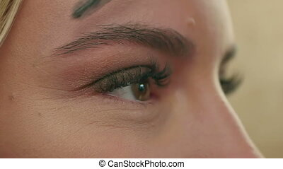 Makeup artist combs the eyebrows, prepearing model. Close...