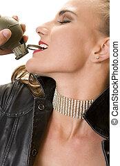 Terrorist Chic - Beautiful Blonde pulling a Hand Grenade Pin...