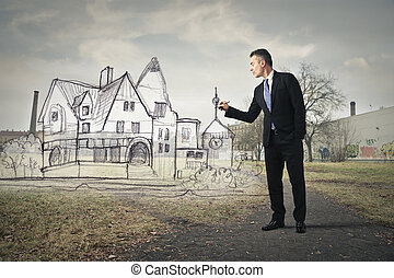 Man with house - Man with drawn house