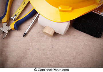 working tools - a mix of construction tools with copyspace
